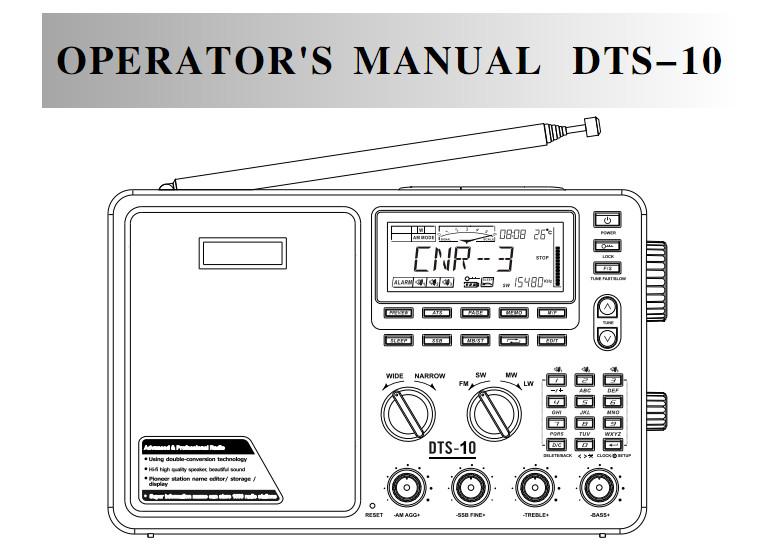 manual d'Anjan DTS-10 Digital FM Ràdio Anglès