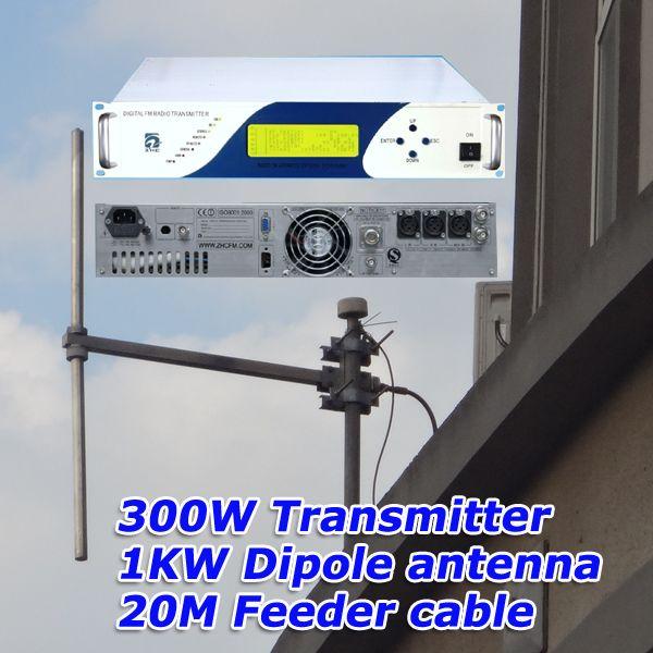 Kompaktowy nadajnik stereo FMUSER 300W + 1KW antena dipolowa FM + 20-metrowe złącze kabla zasilającego Kompletny zestaw