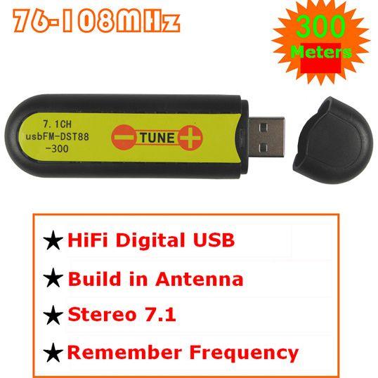 FMUSER USB transmiter FM bezprzewodowa karta dźwiękowa stereo 7.1 kanałowa 300 metrów FM-FU88-300