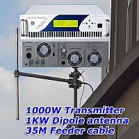 FMUSER 1KW Transmisja radiowa Nadajnik FM + antena dipolowa 1KW + kabel zasilający 35M z konektorami