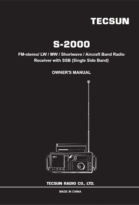 Shkarko Tecsun S-2000 Radio anglisht Manual PDF