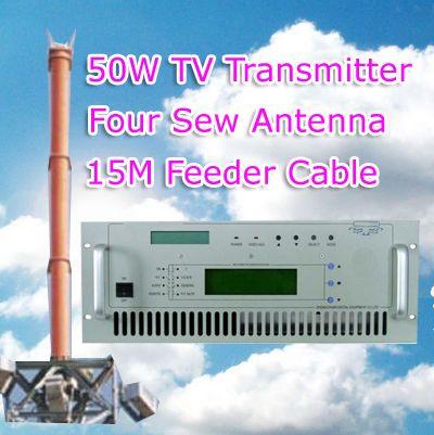 Transmițător TV FMUSER 50W cu antenă de cusut cu cablu de alimentare de 15 metri set complet
