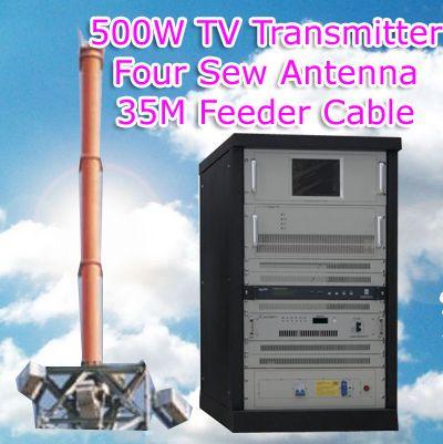 Transmissor de TV FMUSER 500W amb antena de cosir amb cable complet d'alimentació de 35 metres