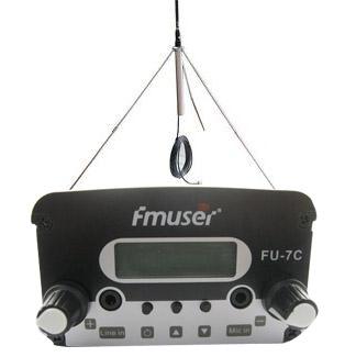 FMUSER 7W CZH-7C CZE-7C FU-7C Nadajnik radiowy FM stereo PLL 76 MHz-108 MHz + antena GP100 + pokrywa zestawu zasilającego 1KM-2.5KM