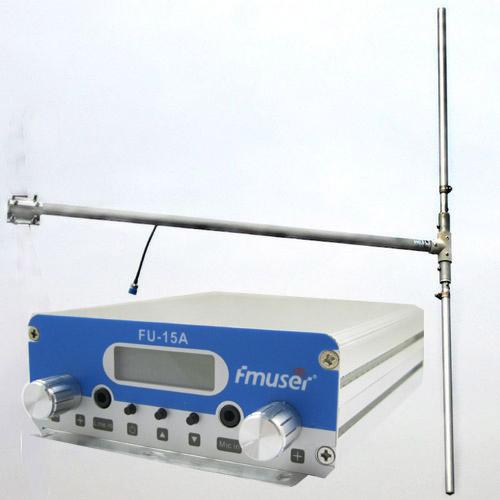 FMUSER 15W CZH-15A CZE-15A FU-15A Nadajnik FM stereo PLL Wzbudnica FM 88 Mhz - 108 Mhz + DP100 1/2 fali antena dipolowa + zestaw zasilający