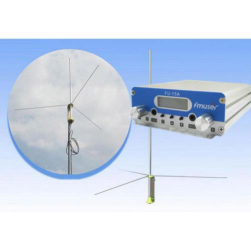 FMUSER 15W CZH-15A CZE-15A FU-15A Nadajnik FM stereo PLL Wzbudnica FM 88 Mhz - 108 Mhz + antena 200/1 fali GP2 + osłona zestawu zasilającego 2.5 KM-5 KM