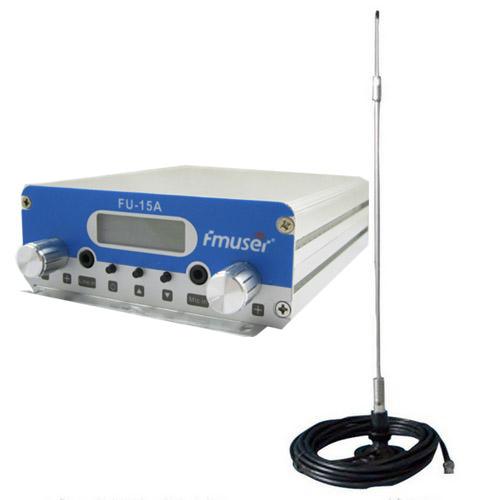 FMUSER 15W CZH-15A Nadajnik FM stereo PLL Wzbudnik FM 88 Mhz - 108 Mhz + antena samochodowa + zasilacz samochodowy Pokrywa zestawu 2KM-4KM