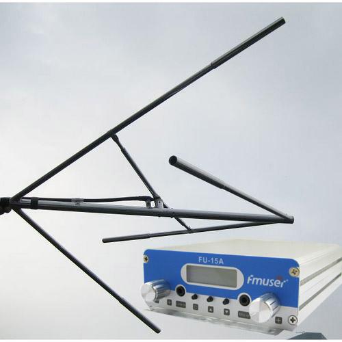 FMUSER 15W CZH-15A CZE-15A FU-15A Nadajnik FM stereo PLL Wzbudnica FM 88Mhz - 108Mhz + Antena FM z polaryzacją kołową + Zestaw do zasilania