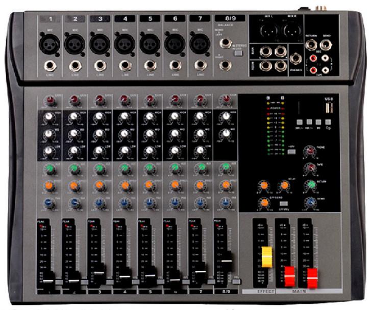 CT90S-USB 8 channel mixer na Stereo pembejeo na USB kuonyesha