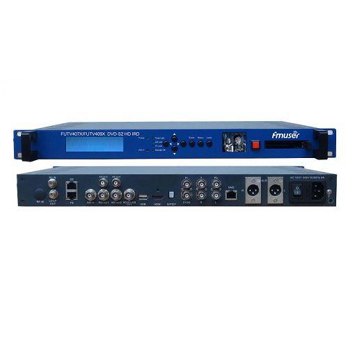 FMUSER FUTV409X / FUTV407X CAM IRD (1 DVB-C / T / T2 / S / S2, DMB-T, ISDB-T, ATSC-T 8VSB RF Input, 1 ASI IP Në, 2 ASI 1 IP Output, HDMI SDI CVBS XLR Out) me live Screen