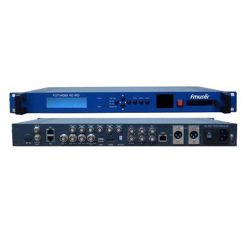 FMUSER FUTV408X HD IRD (1 DVB-C / S / T / S2, ISDB-T, ATSC-T 8VSB RF Input, 1 ASI IP In, 2 ASI 1 IP Output, HDMI SDI CVBS XLR Out) me live Screen