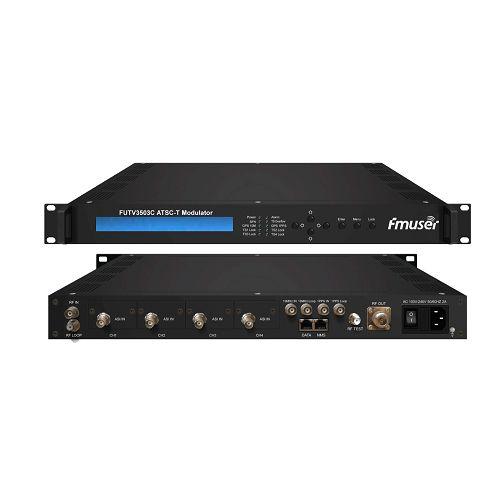 FMUSER FUTV3503C ATSC-T 8VSB Modulator 8-VSB për RF rregullim (2 * ASI / 2 * SMPTE input 310M, RF ontput, ATSC 8VSB ulje) me menaxhimin e Rrjetit