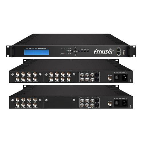 FMUSER FUTV4443D 4 në 1 Mux-Scrambling QAM Modulator (8Tuner + 6 * ASI në, 4Tuner + 6 * ASI + 2 * IP jashtë) me web managementtor