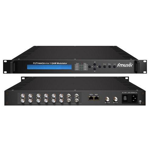 Fmuser FUTV4443A-10 4 1 katika Mux-scrambling QAM (6 DVB-S2 tuner + 4 ASI pembejeo hiari, 4 multiplexing, 4 scrambling na 4 QAM modulating) na SNMP usimamizi