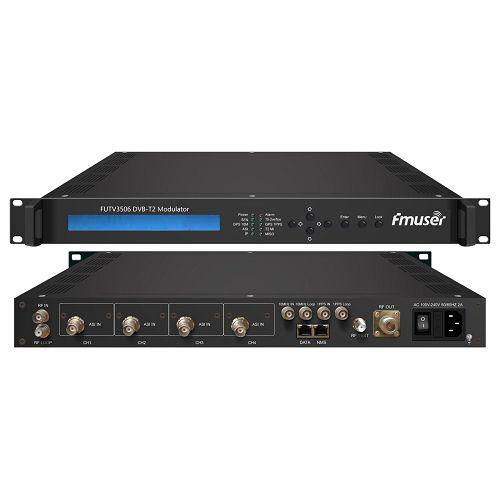 FMUSER FUTV3506 DVB-T2 modulator (2 * ASI në, 1 * IP jashtë, QPSK / 16QAM / 64QAM / 256QAM) me sistemin e rrjetit