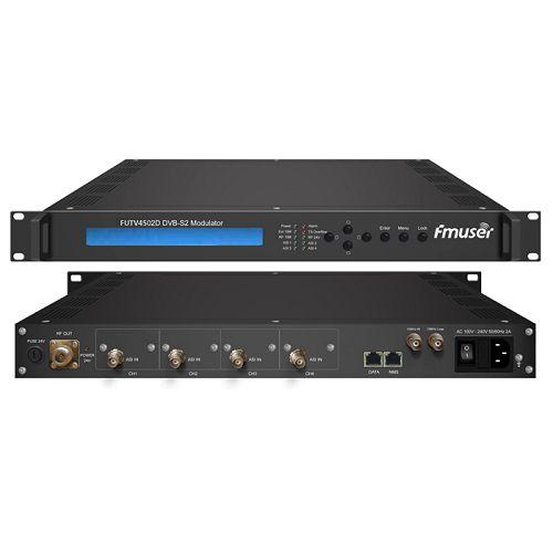 FMUSER FUTV4502D DVB-S2 Modulator (4 * ASI në, BISS, 24V RF output,) me menaxhimin e rrjetit
