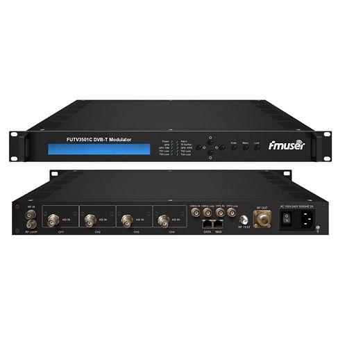 FMUSER FUTV3501C DVB-T Modulator (4 * ASI në, 1 * RF DPD jashtë, DVB-T standard) me telekomandë