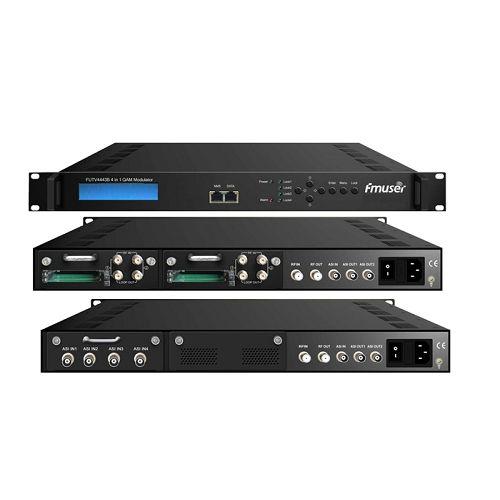 FMUSER FUTV4443B 4 në 1 MUX-QAM përpiqen modulator (optional 4 * ASI / Tuner në, 4 * RF out) përshtatjen e sistemit CATV