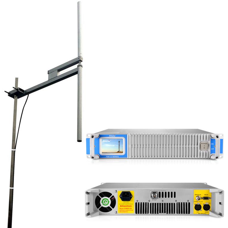 Transmissor de ràdio FMUSER 600W Transmissor de ràdio professional + Antena dipol 1KW FU-DV2 + cable de 30 metres amb connectors Conjunt complet