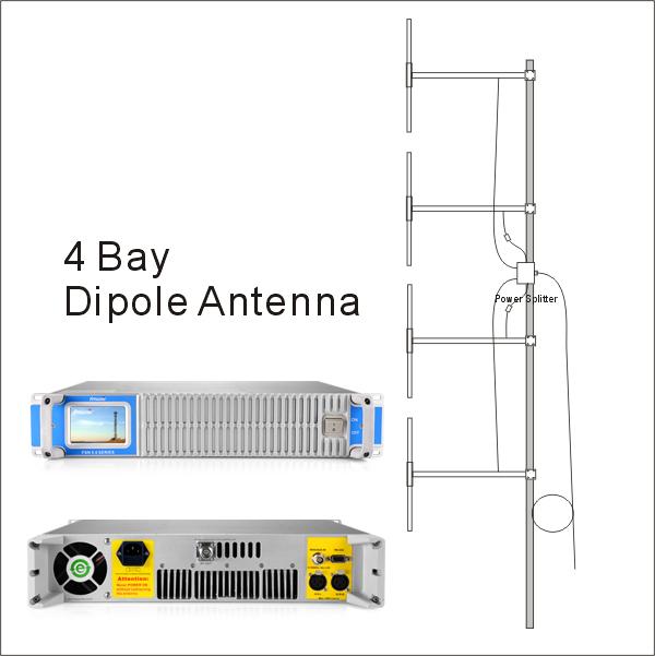 FMUSER 600W Transmissor de ràdio FM FM + professional + Antena dipòlica de quatre badies de 100/1 ona DP2 + cable de 30 metres amb connectors
