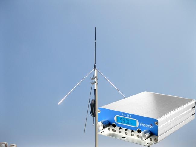 FMUSER FU-15A 1W / 15W PLL FM Stereofoniczny nadajnik FM, dwa poziomy mocy dla krótkiego lub dalekiego zasięgu Bezprzewodowe nadawanie + 1 / 4 wave Antena płaszczyzny ziemi + zasilacz AC, Super Holiday Light FM Transmitter KIT