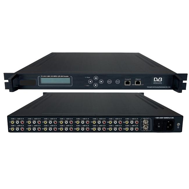 FMUSER FC-2414 16IN1 MPEG-2 / H.264 SD kóðara (16 * AV + ASI IN, ASI / IP OUT)