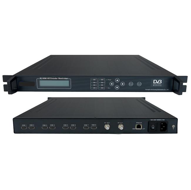 FMUSER FC-5356 8IN1 H264 Mpeg4 HD Encoder Modulatori DVB-T / HDMI me shumë kanale për konvertim RF Për headend DVB, Hotel HDTV, / Cable Digital TV