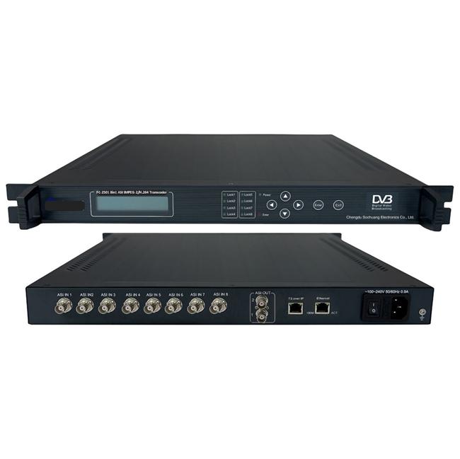 FMUSER FC-2501 8IN1 ASI MPEG-2 / H264 Transcoder (ASI ndani, ASI / IP / MPTS / STPS nje)
