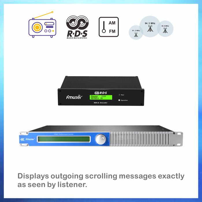 FMUSER 50W FM Transmetues me ROD Encoder për transmetim inteligjent të adresueshëm me DP100 Dipole Antena dhe Kabllot plotë KIT