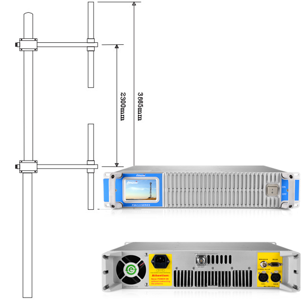 FMUSER FMN-1500T 1500W Transmissor FM + 2KW Dipole Antena + 40M Cable coaxial 50KM Radio Station