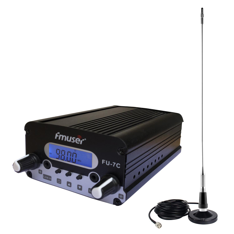 FMUSER 7W CZH-7C CZE-7C FU-7C Nadajnik FM stereo PLL 76 MHz-108 MHz + DP100 Antena dipolowa 1/2 fali + pokrywa zestawu zasilającego 1.5 KM-3 KM