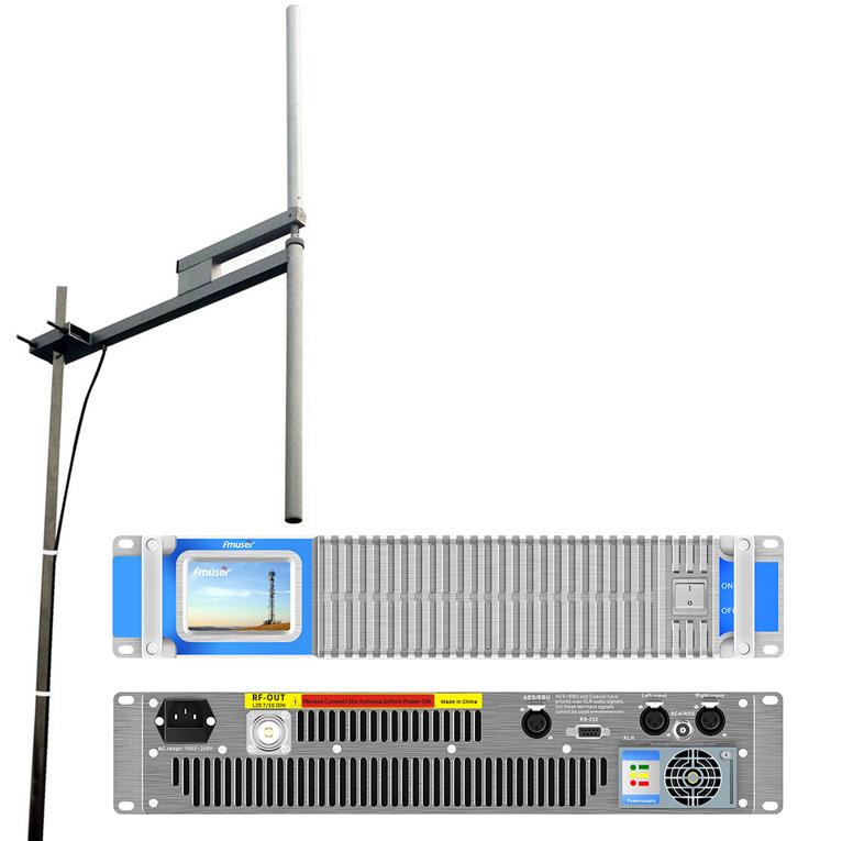 FM FM 2KW FM TX amb paquet d'antena (transmissor FM 2000W + Antena dipol 2KW + cable coaxial 30M)