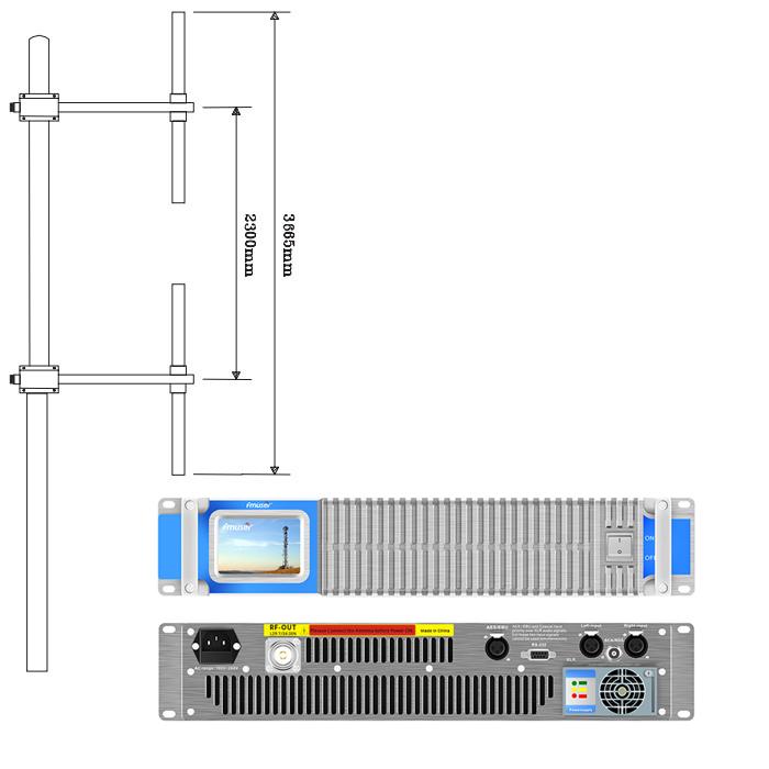 FM FM 2KW FM TX amb paquet de dues antenes (transmissor FM 2000W + antena dipol de dues badies + cable coaxial 30M)