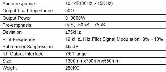 FMUSER 3000W 3KW profesjonalny nadajnik FM do montażu w szafie + antena dipolowa 4bay + kabel koncentryczny 50 M + złącza