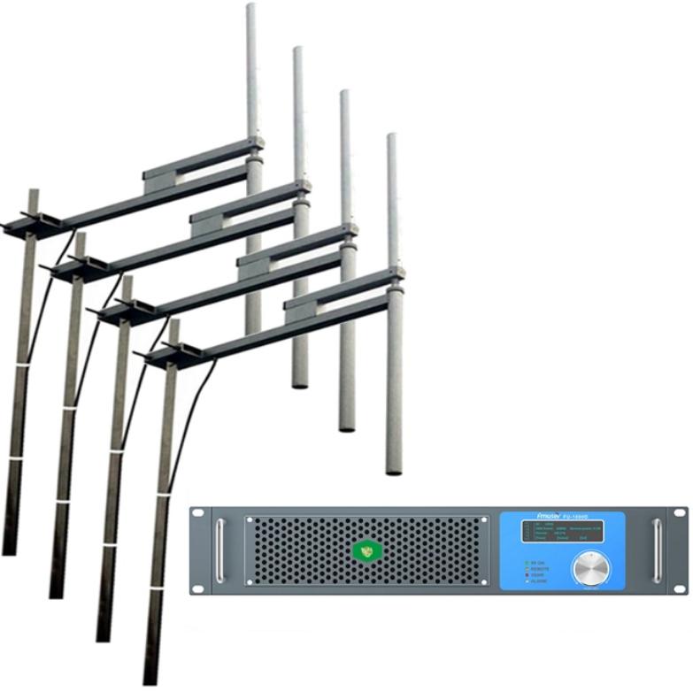 FMUSER DSP 1000W Nadajnik radiowy FM + 4-zatokowa antena dipolowa + 30M kabel koncentryczny Kompletny zestaw