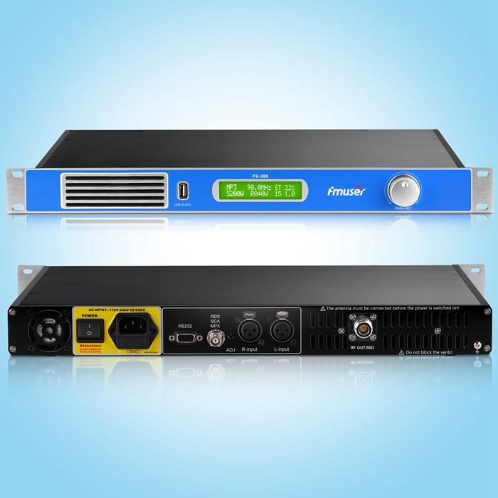 FMUSER FU-200A 1U 200W เครื่องส่งสัญญาณวิทยุ FM พร้อมอินเทอร์เฟซอินพุตเสียง USB