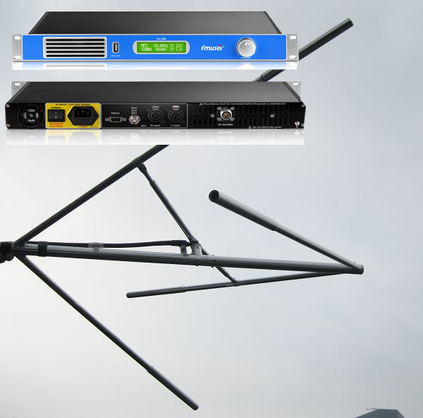 FMUSER 200W FM-radiostasjon komplett pakke (FU-200A FM-sender + sirkulær antenne + 20M koaksialkabel)