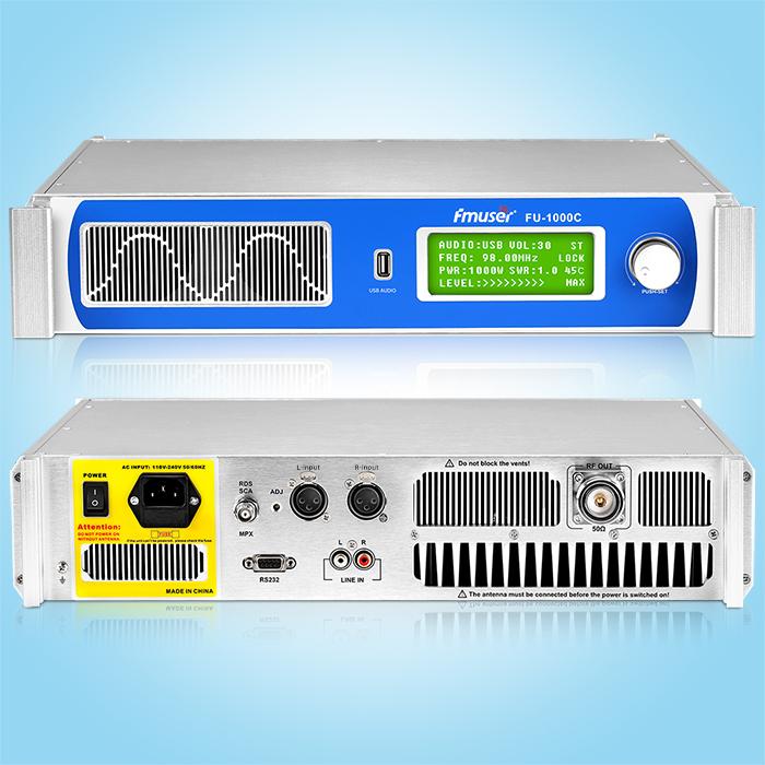 Transmetteur FM FMUSER FU-1000C 1000W avec interface d'entrée audio USB
