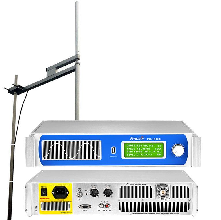Transmissor FMUSER FU-1000C 1000W + Antena dipol de 2KW + KIT de cable coaxial 30M