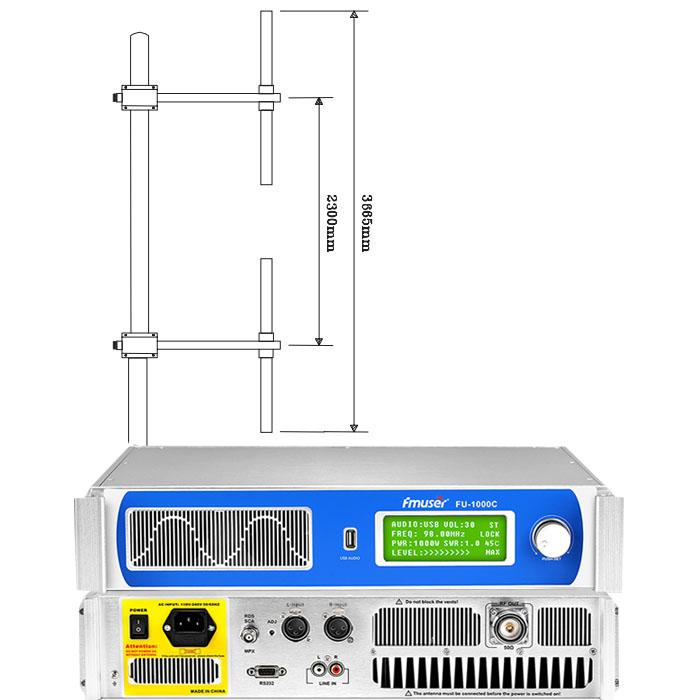 Transmissor FM FMUSER FU-1000C 1000W + Antena dipol de 2 badies + KIT de cable coaxial 30M