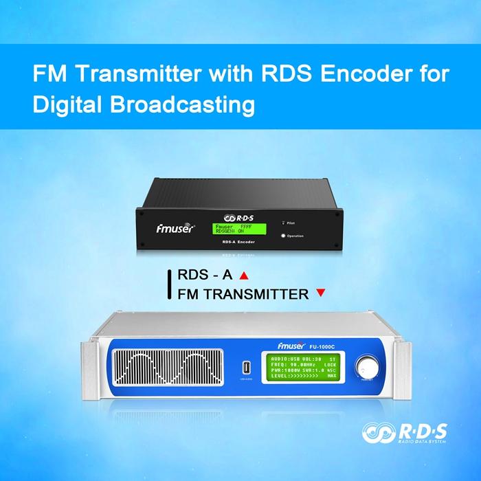 Émetteur de station de radio FM FMUSER RDS 1000W avec interface d'entrée audio USB